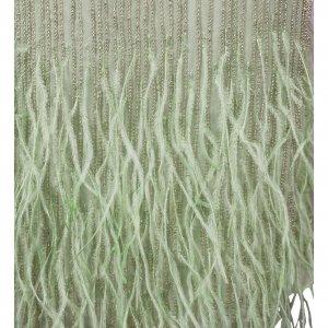 שמלה ירוקה עם נוצות וחרוזים 2
