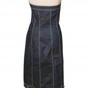 שמלת סטרפלס ג'ינס כהה 2