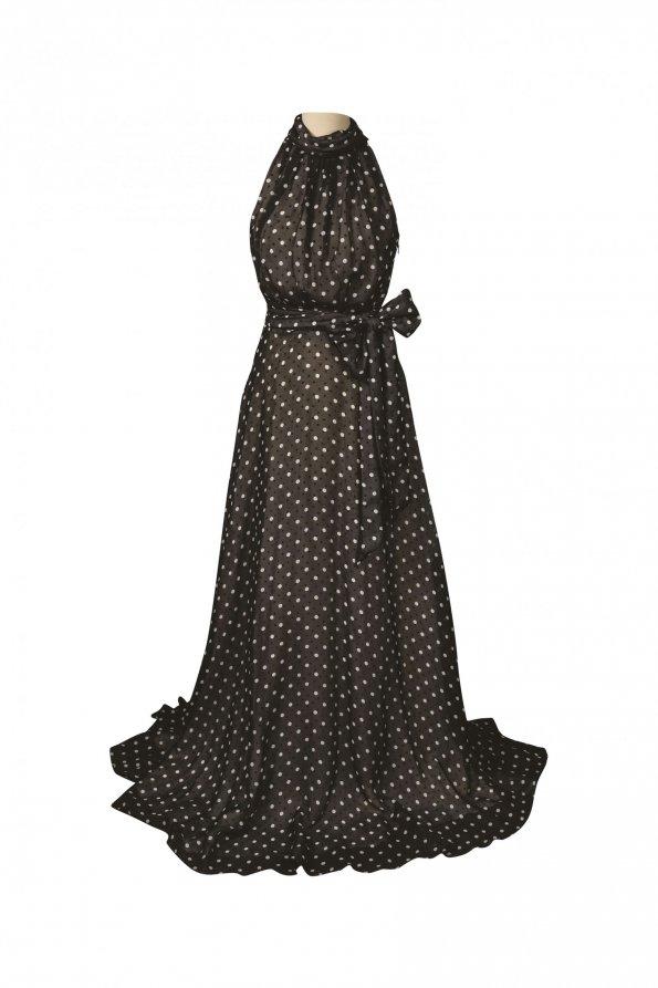 שמלת מקסי שחורה עם נקודות לבנות 1