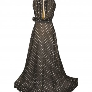 שמלת  מקסי שחורה עם נקודות לבנות 4