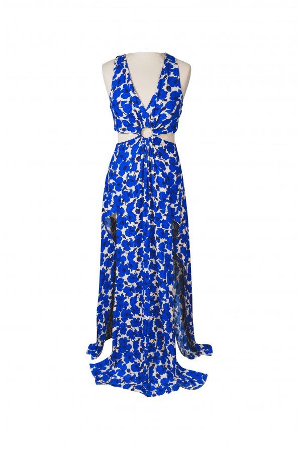 שמלת מקסי מותן חשופה פרחים כחולים 1