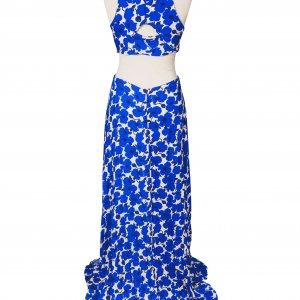 שמלת מקסי מותן חשופה פרחים כחולים 2