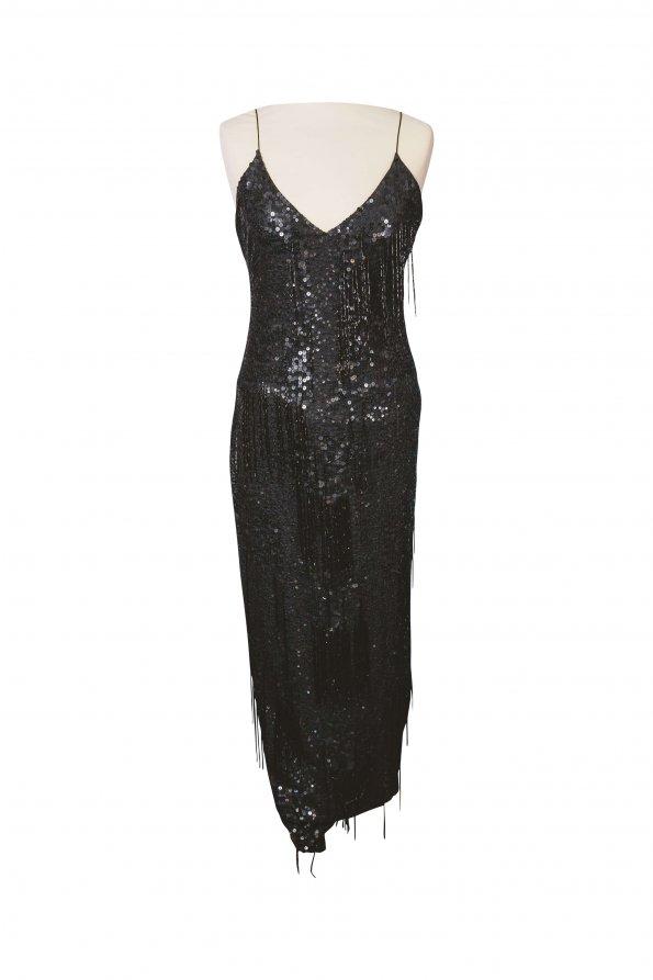 שמלת מקסי עם פייטים וחרוזים 1