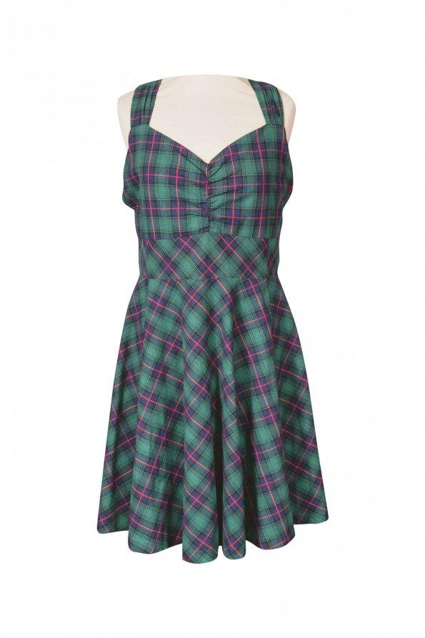 שמלת וינטג' משבצות ירוקה 1