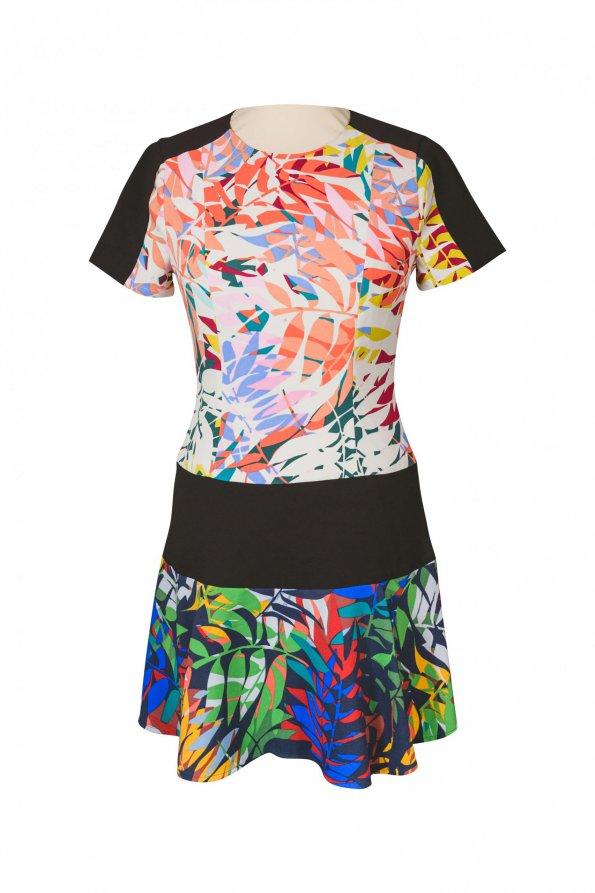 שמלה קצרה עלים צבעוניים עם פס שחור. - BCBG 1
