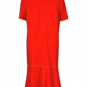 שמלה אדומה מלמלה בתחתית כיסים וכפתורי זהב 2