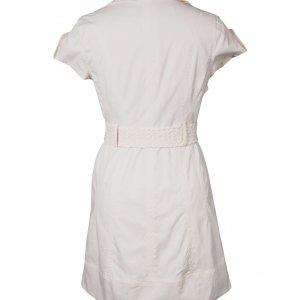 שמלה לבנה מכופתרת עם חגורה 2