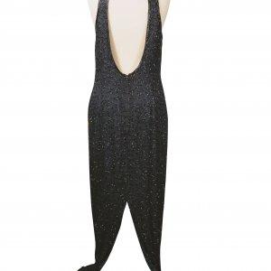 שמלת מקסי שחורה עם פייטים מזהב בחזה 2