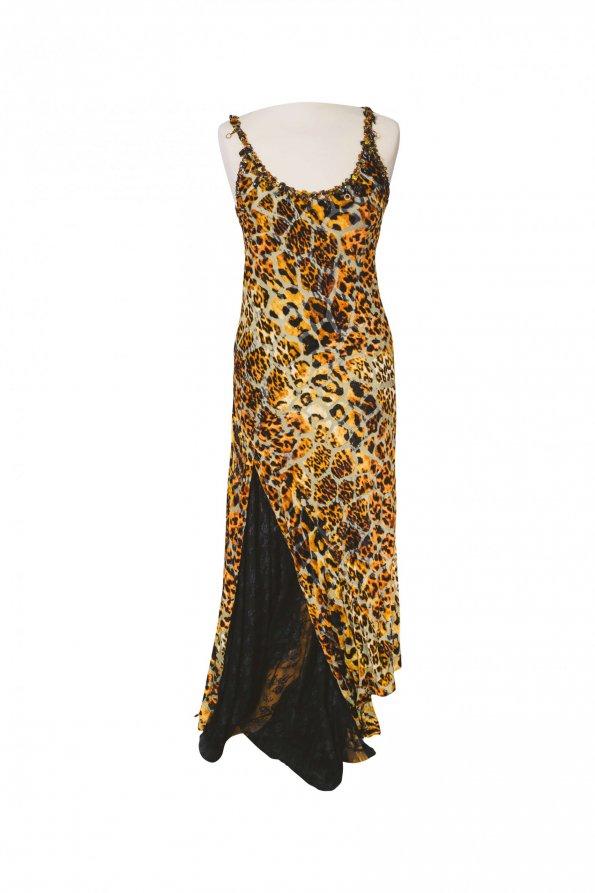 שמלת כתפיות קטיפה מנומרת תחתית תחרה שחורה - UNGARO 1