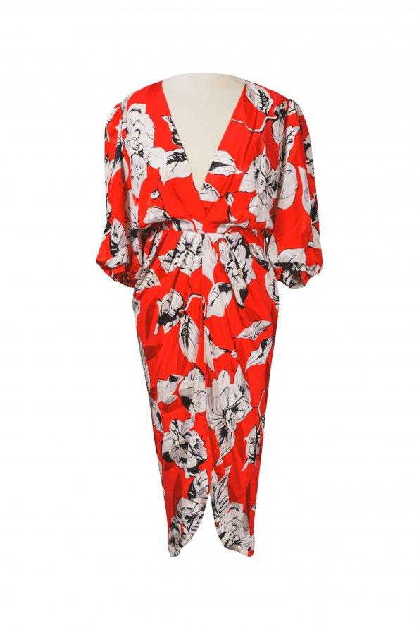 שמלת וינטג' אדומה פרחים לבנים 1