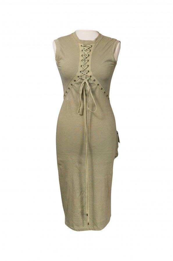 שמלת מקסי ירוק חאקי 1