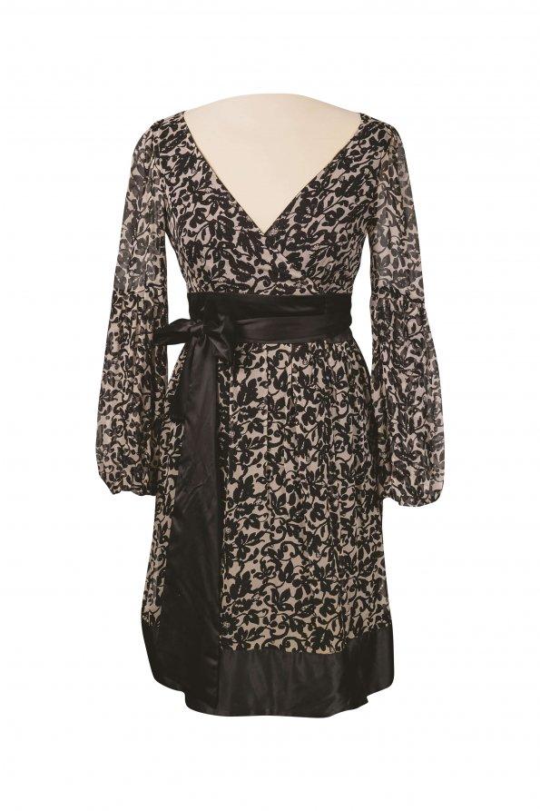 שמלת מעטפת משי שמנת שחור פרחים 1