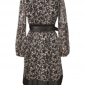 שמלת מעטפת משי שמנת שחור פרחים 2