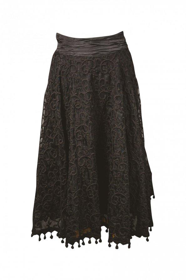 חצאית תחרה שחורה ושכבות ביטנה גזרת a רקמות ופנפונים - ADOLFO DOMINGUEZ 1