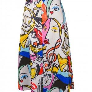 חצאית לבנה ציורים צבעוניים 2