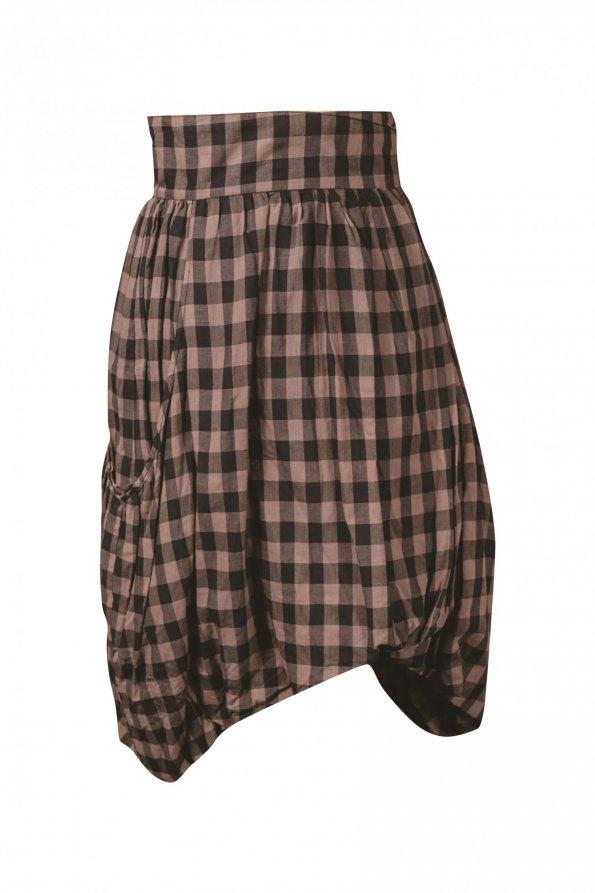 חצאית מעטפת משובצת חום שחור 1