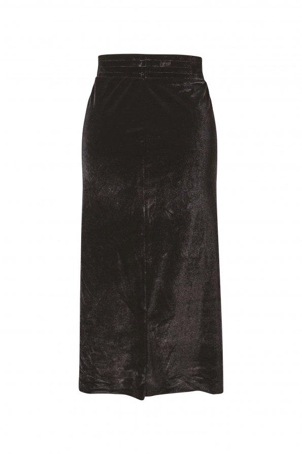 חצאית צמודה מידי קטיפה שחורה 1