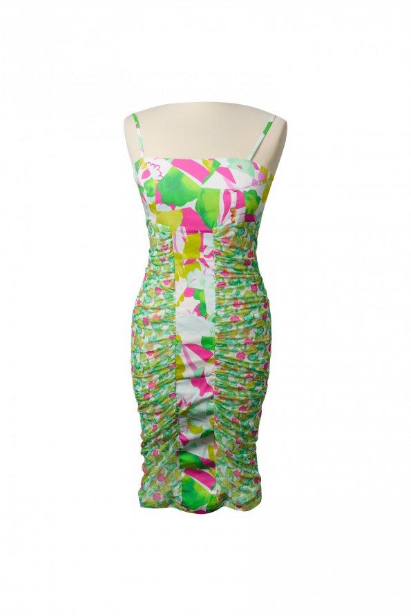 שמלת פרחים ירוק ורוד 1