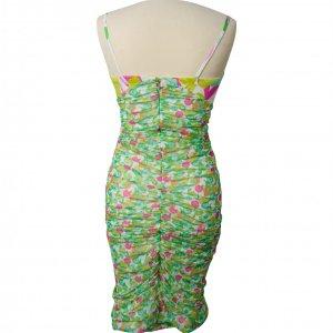 שמלת פרחים ירוק ורוד 3