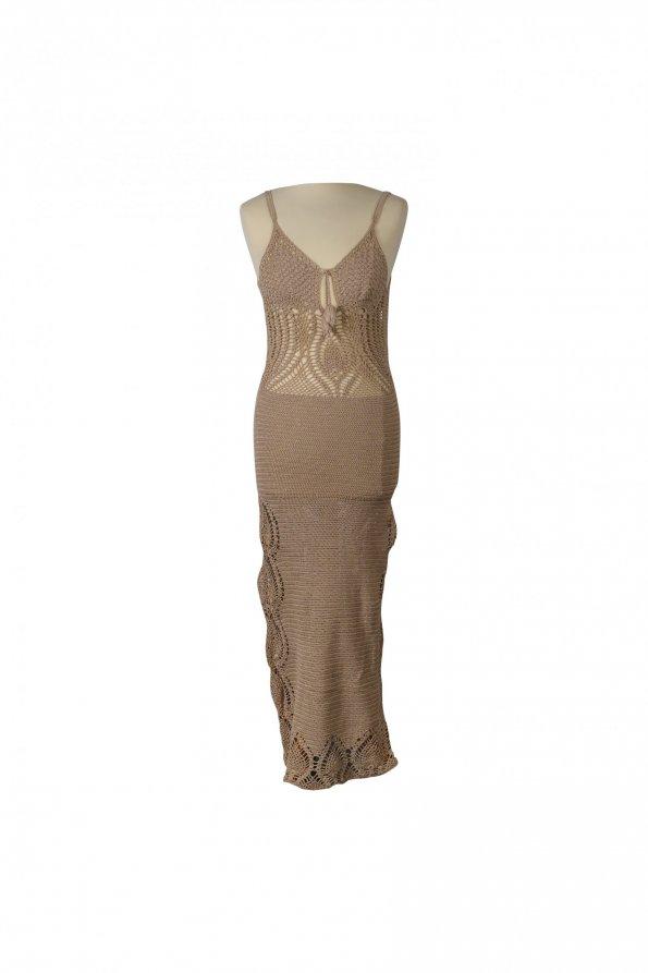 שמלת סריג שמנת מקסי גב פתוח 1