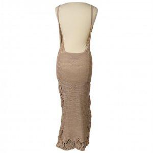 שמלת סריג שמנת מקסי גב פתוח 2