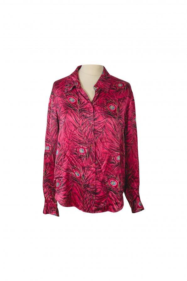 חולצת משי ורודה נוצות 1