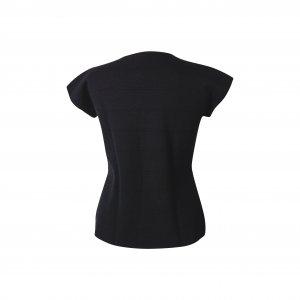 חולצה שחורה קצרה בד סריג 3