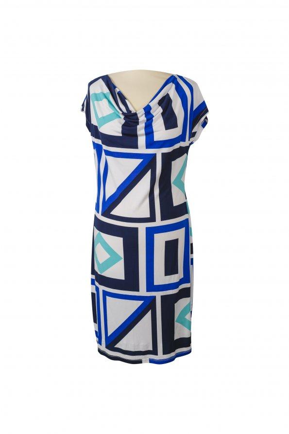 שמלה קצרה לבנה עם פרינטים גאומטריים כחולים 1
