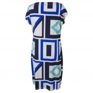 שמלה קצרה לבנה עם פרינטים גאומטריים כחולים 2