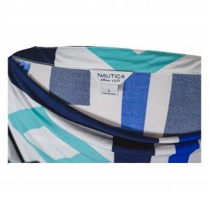 שמלה קצרה לבנה עם פרינטים גאומטריים כחולים 3