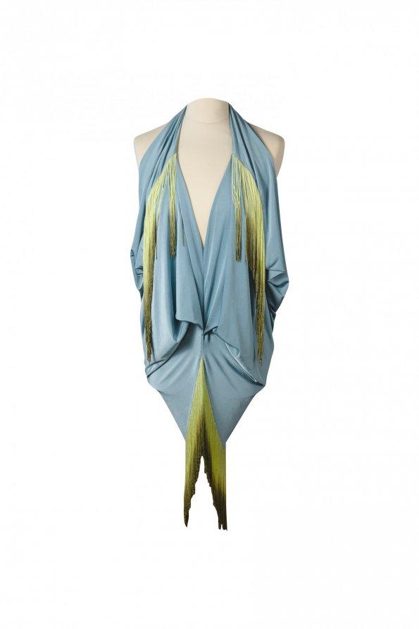 שמלת תכלת פרנזים ירוקים 1