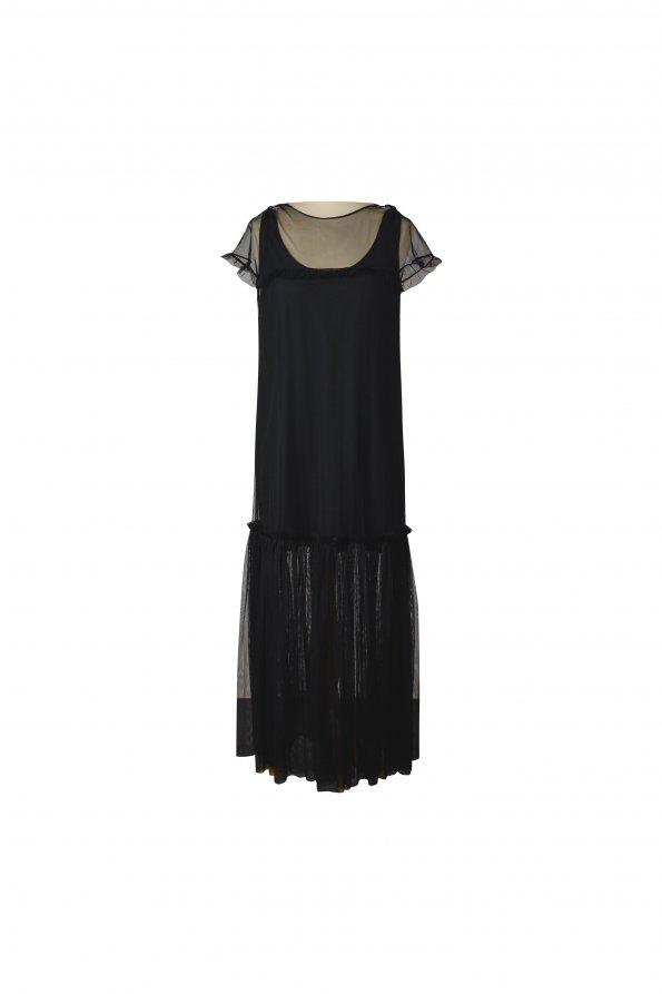 שמלת מקסי רשת שחורה 1