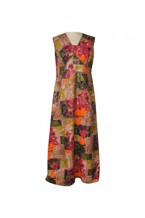 שמלת מקסי צבעונית עם זהב 1