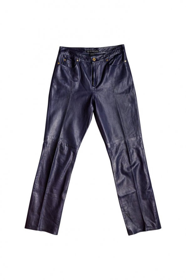 מכנס עור כחול גבוה 1