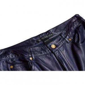 מכנס עור כחול גבוה 3