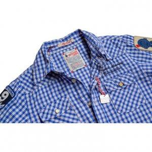 חולצה מכופתרת משבצות כחול לבן עם פאצ'ים 4