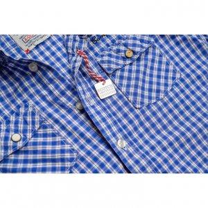 חולצה מכופתרת משבצות כחול לבן עם פאצ'ים 3