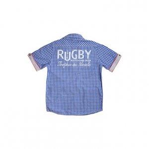 חולצה מכופתרת משבצות כחול לבן עם פאצ'ים 2