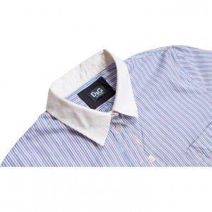 חולצה מכופתרת קצרה פסים תכלת אדום לבן 3
