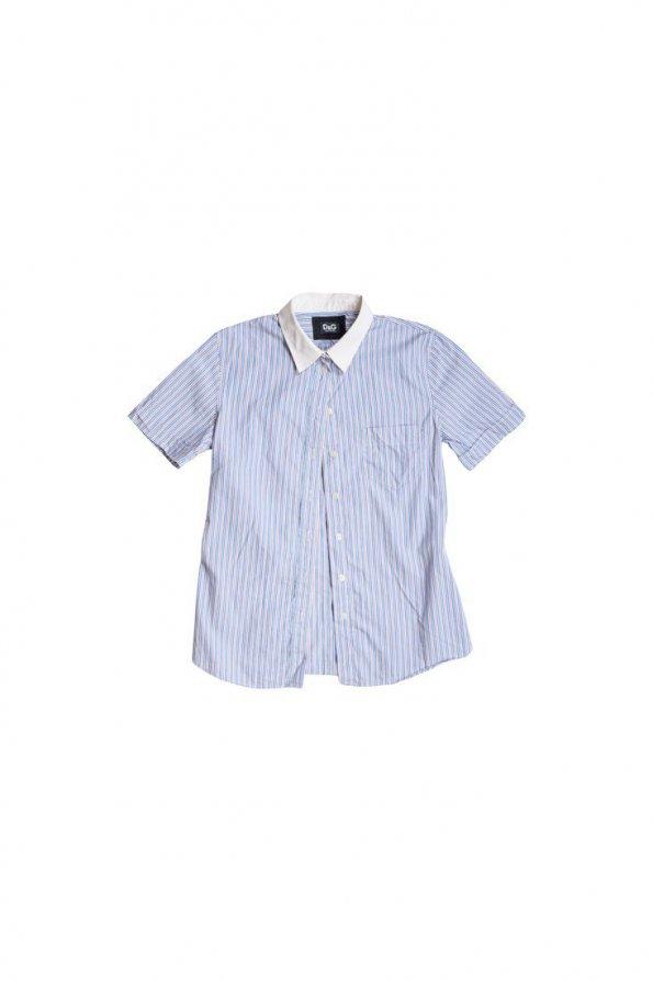 חולצה מכופתרת קצרה פסים תכלת אדום לבן 1