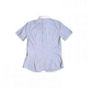 חולצה מכופתרת קצרה פסים תכלת אדום לבן 2