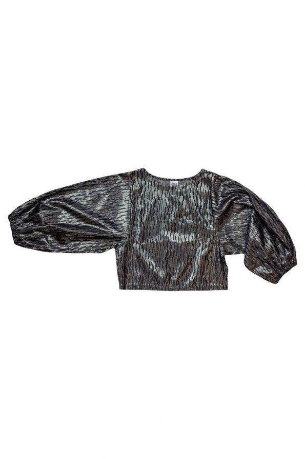 חולצה שחור כסוף שרוולים נפוחים 1