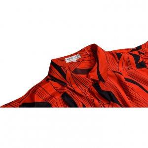 חולצת וינטג' מכופתרת הדפס עלים שחור אדום 3