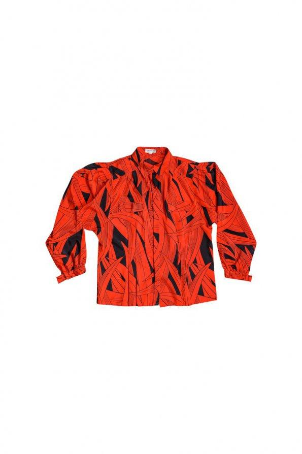 חולצת וינטג' מכופתרת הדפס עלים שחור אדום 1