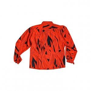 חולצת וינטג' מכופתרת הדפס עלים שחור אדום 2