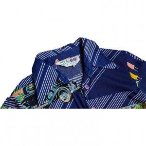 חולצה מכופתרת כחולה הדפסי מכוניות 3
