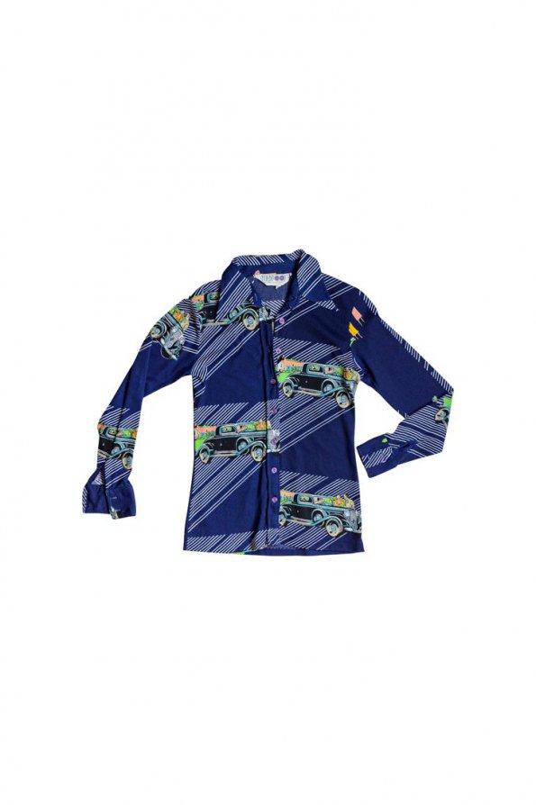 חולצה מכופתרת כחולה הדפסי מכוניות 1