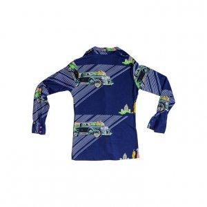 חולצה מכופתרת כחולה הדפסי מכוניות 2