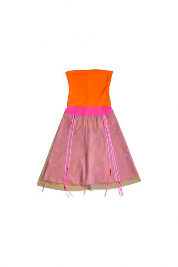 שמלת סטרפלס כתום ורוד 1