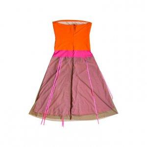 שמלת סטרפלס כתום ורוד 2